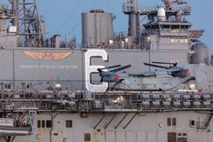 Bell Boeing MV-22 Osprey tilt rotor aircraft from the United States Marine Corps. Melbourne, Australia - August 30, 2017: Bell Boeing MV-22 Osprey tilt rotor Stock Images