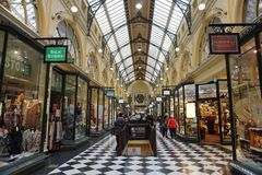 MELBOURNE, AUSTRALIA, AUGUST 16 2017 - Melbourne arcade galleries. MELBOURNE, AUSTRALIA, AUGUST 16 2017 - Arcade Gallery in Melbourne, the capital and most Stock Images