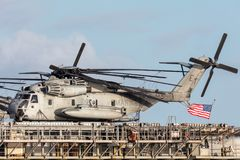 Sikorsky CH-53 heavy lift transport helicopters from the United States Marine Corps. Melbourne, Australia - August 30, 2017: Sikorsky CH-53 heavy lift transport royalty free stock images