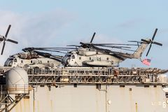 Sikorsky CH-53 heavy lift transport helicopters from the United States Marine Corps. Melbourne, Australia - August 30, 2017: Sikorsky CH-53 heavy lift transport stock photography