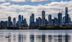 Melbourne City Skyline from Albert Park Lake royalty free stock images