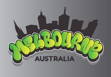 Melbourne Australia Cityscape City Skyline Silhouette Urban Card Flyer Poster Hand Drawn Lettering Type Design Throw Up. Bubble Graffiti Vector Graphic stock illustration