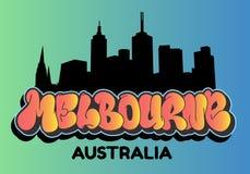 Melbourne Australia Cityscape City Skyline Silhouette Urban Card Flyer Poster Hand Drawn Lettering Type Design Throw Up. Bubble Graffiti Vector Graphic vector illustration