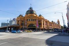 Melbourne, Australia - 16 de marzo de 2015: Ferrocarril de calle del Flinders S Fotografía de archivo libre de regalías