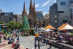 Melbourne, Australia - December 16, 2017: Almost Christmas at Federation Square. People gathering around huge beautiful Christmas. Melbourne, Australia stock photos