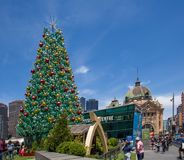 Melbourne, Australia - December 16, 2017: Huge beautiful Christmas tree at Federation Square. Melbourne, Australia - December 16, 2017: Huge beautiful Christmas Royalty Free Stock Photo