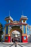 Melbourne Luna Park amusement park entrance. Melbourne, Australia - December 7, 2016: Melbourne Luna Park amusement park entrance on sunny day Stock Image