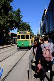 Melbourne, Australia, February 22, 2019 - The free No.35 tram that run within the city centre. The City Circle Tram route number 35 is free to ride within the royalty free stock photo