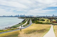 Melbourne skyline seen from Point Ormond on the Elwood foreshore. Stock Images