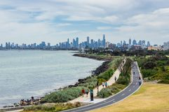 Melbourne skyline seen from Point Ormond on the Elwood foreshore. Stock Photos