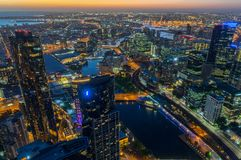 Aerial view of Melbourne along the Yarra River towards Docklands. Melbourne, Australia - January 16, 2018: aerial view of Melbourne, looking towards Docklands Stock Image