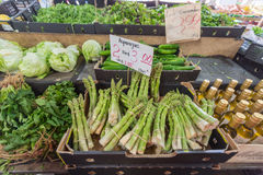 MELBOURNE, AUSTRALIA - JANUARY 12, 2015: Fresh fruits and vegetables Queen Victoria Market. It is a major landmark and the largest Royalty Free Stock Photo