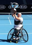 Grand Slam champion Dylan Alcott of Australia during trophy presentation after 2019 Australian Open quad wheelchair singles final. MELBOURNE, AUSTRALIA - JANUARY royalty free stock images