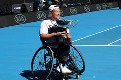 Grand Slam champion Dylan Alcott of Australia during trophy presentation after 2019 Australian Open quad wheelchair singles final. MELBOURNE, AUSTRALIA - JANUARY royalty free stock photos