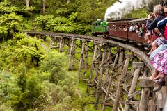 Melbourne, Australia - January 7, 2009: Puffing Billy steam train with passengers. Historical narrow railway in the Dandenong stock image