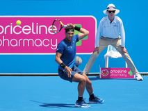 Tennis player Rafael Nadal preparing for the Australian Open at the Kooyong Classic Exhibition tournament Stock Images