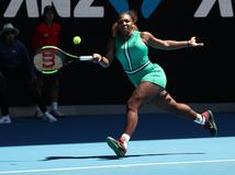 23-time Grand Slam Champion Serena Williams of United States in action during her quarterfinal match at 2019 Australian Open. MELBOURNE, AUSTRALIA - JANUARY 23 royalty free stock photos