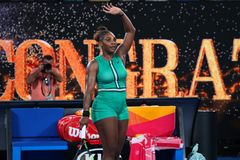 23-time Grand Slam Champion Serena Williams of United States celebrates victory after her round of 16 match at Australian Open. MELBOURNE, AUSTRALIA - JANUARY 21 stock photos