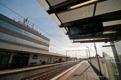 MELBOURNE, AUSTRALIA - JULY 26, 2018: Broadmeadow train station platform in Melbourne Australia royalty free stock images