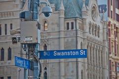 MELBOURNE, AUSTRALIA - 29 LUGLIO 2018: Pedone di sorveglianza della macchina fotografica all'aperto della via del CCTV di sorvegl fotografie stock libere da diritti