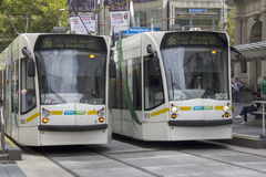 MELBOURNE, AUSTRALIA MAR 18TH: Trams on Bourke str Royalty Free Stock Images