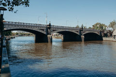 Melbourne, AUSTRALIA - March, 9 2017: Princess Bridge over Yarra River in the city center of Melbourne on March 9, 2017. Royalty Free Stock Photo