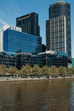Melbourne, AUSTRALIA - March, 9 2017: South Wharf buildings cityscape from Yarra River in the city of Melbourne on March 9, 2017 Stock Image