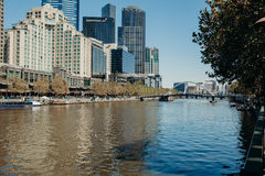 Melbourne, AUSTRALIA - March, 9 2017: South Wharf suburb cityscape from Yarra River in the city of Melbourne on March 9, 2017 Royalty Free Stock Photography