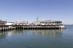 Restaurants on the Bay Trail in Beacons Cove. Melbourne, Australia: March 21, 2018: Waterfront Port in Beacon Cove. Restaurants and cafes along the Bay Trail on royalty free stock photo