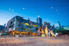 Federation Square in Melbourne. Melbourne, Australia - MAY 13 : Federation Square in Melbourne on May 13, 2017. It is a mixed-use development in the inner city stock images