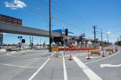Centre Road level crossing being replaced by skyrail elevated train tracks in Clayton South, Melbourne. Melbourne, Australia - November 19, 2017: construction of Royalty Free Stock Photography