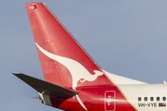 Tail of Qantas Boeing 737-838 VH-VYE. stock photo