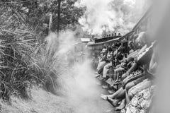Melbourne Australia, Styczeń, - 7, 2009: Chuchać Billy parowego pociąg z pasażerami Dziejowa wąska kolej w Dandenong obrazy stock