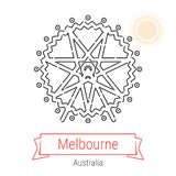 Melbourne, Australia Vector Line Icon. With Red Ribbon  on White. Melbourne Landmark - Emblem - Print - Label - Symbol. Melbourne Ferris Wheel Pictogram. World Stock Photos