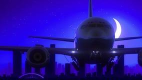 Melbourne Australian Airplane Take Off Moon Night Blue Skyline Travel stock video footage