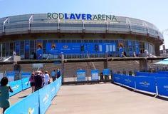 Den Stång Laverarenaen på australiensisk tennis centrerar i MELBOURNE, AUSTRALIEN. Arkivfoto