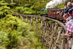 Melbourne Australien - Januari 7, 2009: Pustande Billy ångadrev med passagerare Historisk smal järnväg i Dandenongen fotografering för bildbyråer