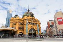 Melbourne, Australien - 16. März 2015: Flinders-Straßenbahn-Bahnhof Lizenzfreie Stockfotos