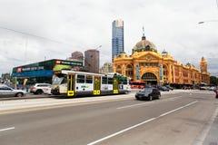 Melbourne, Australien - 16. März 2015: Flinders-Straßenbahn-Bahnhof Stockbild