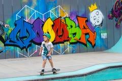 Melbourne, Australien - 14. März 2016: Wettbewerb, der am jährlichen Moomba-Festival eisläuft lizenzfreie stockbilder