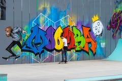 Melbourne, Australien - 14. März 2016: Wettbewerb, der am jährlichen Moomba-Festival eisläuft stockfotografie
