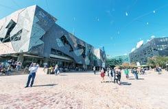 MELBOURNE AUSTRALIEN - OKTOBER 10, 2015: Iconic federation Squar Royaltyfria Foton