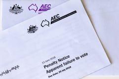 Melbourne Australien - September 5th 2018: Australiskt straffmeddelande för att inte rösta i val arkivfoto