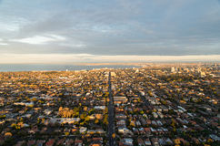 Melbourne bayside suburbs aerial sunrise Royalty Free Stock Image