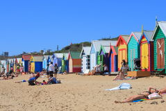 Melbourne beach bathing box Australia Stock Image