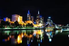 Melbourne bij nacht Royalty-vrije Stock Foto's