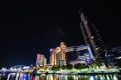 Melbourne bij nacht Royalty-vrije Stock Afbeelding