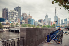 Melbourne bike share station Stock Photography