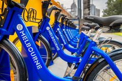 Melbourne bike share station Stock Images