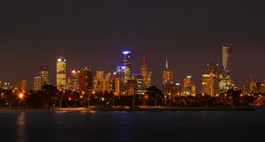 Melbourne bis zum Night Stockfotografie